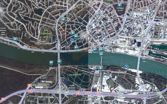 Detail of my own sound map showing field recording markers in Bratislava, Slovakia (source: http://12gatestothecity.com/acoustic-map/)