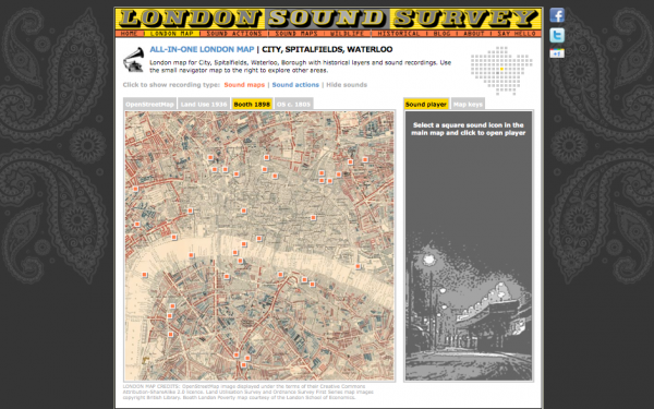 The London Sound Survey interface, showing contemporary sound markers laid over Charles Booth's poverty map of 1898 in the areas of City, Spitalfields, and Waterloo (source: http://www.soundsurvey.org.uk/index.php/survey/london_map/waterloo/348/)